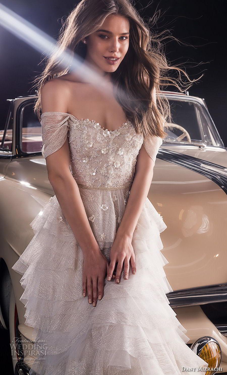 dany mizrachi fall 2018 bridal off the shoulder sweetheart neckline heavily embellished bodice layered skirt romantic a  line wedding dress chapel train (17) zv
