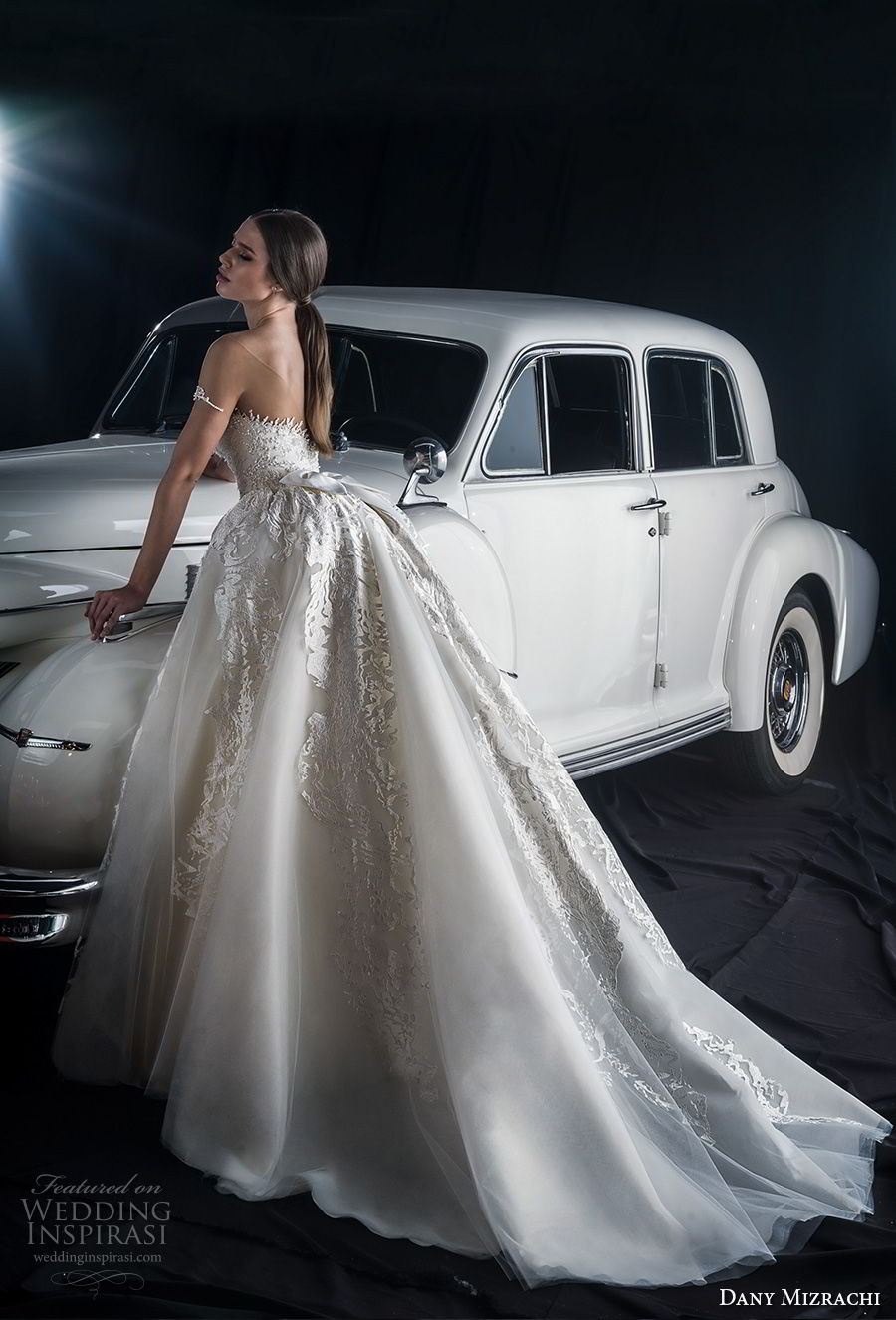 dany mizrachi fall 2018 bridal off the shoulder sweetheart neckline heavily embellished bodice princess glitzy ball gown wedding dress a  line overskirt chapel train (1) bv