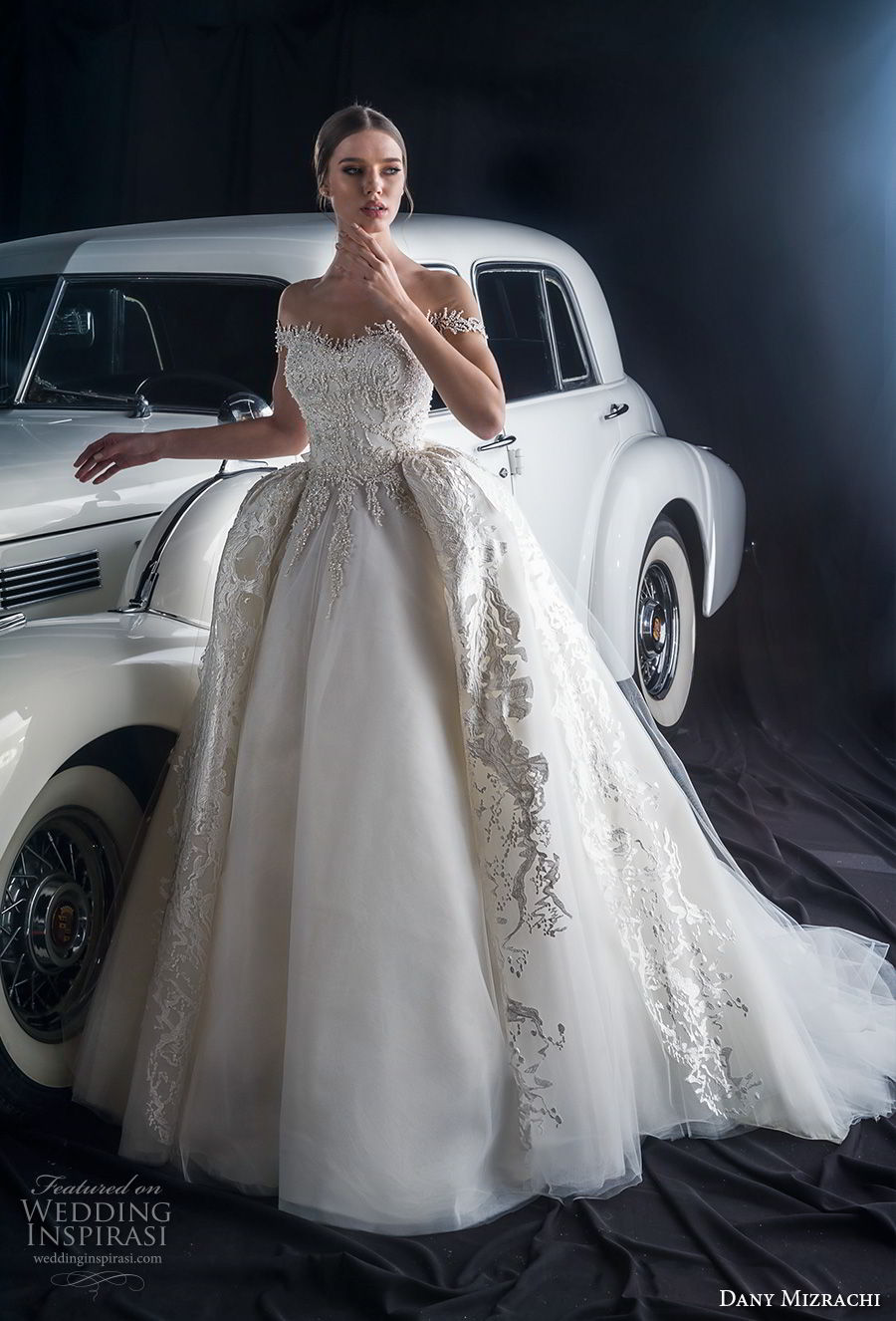 dany mizrachi fall 2018 bridal off the shoulder sweetheart neckline heavily embellished bodice princess glitzy ball gown wedding dress a  line overskirt chapel train (1) mv
