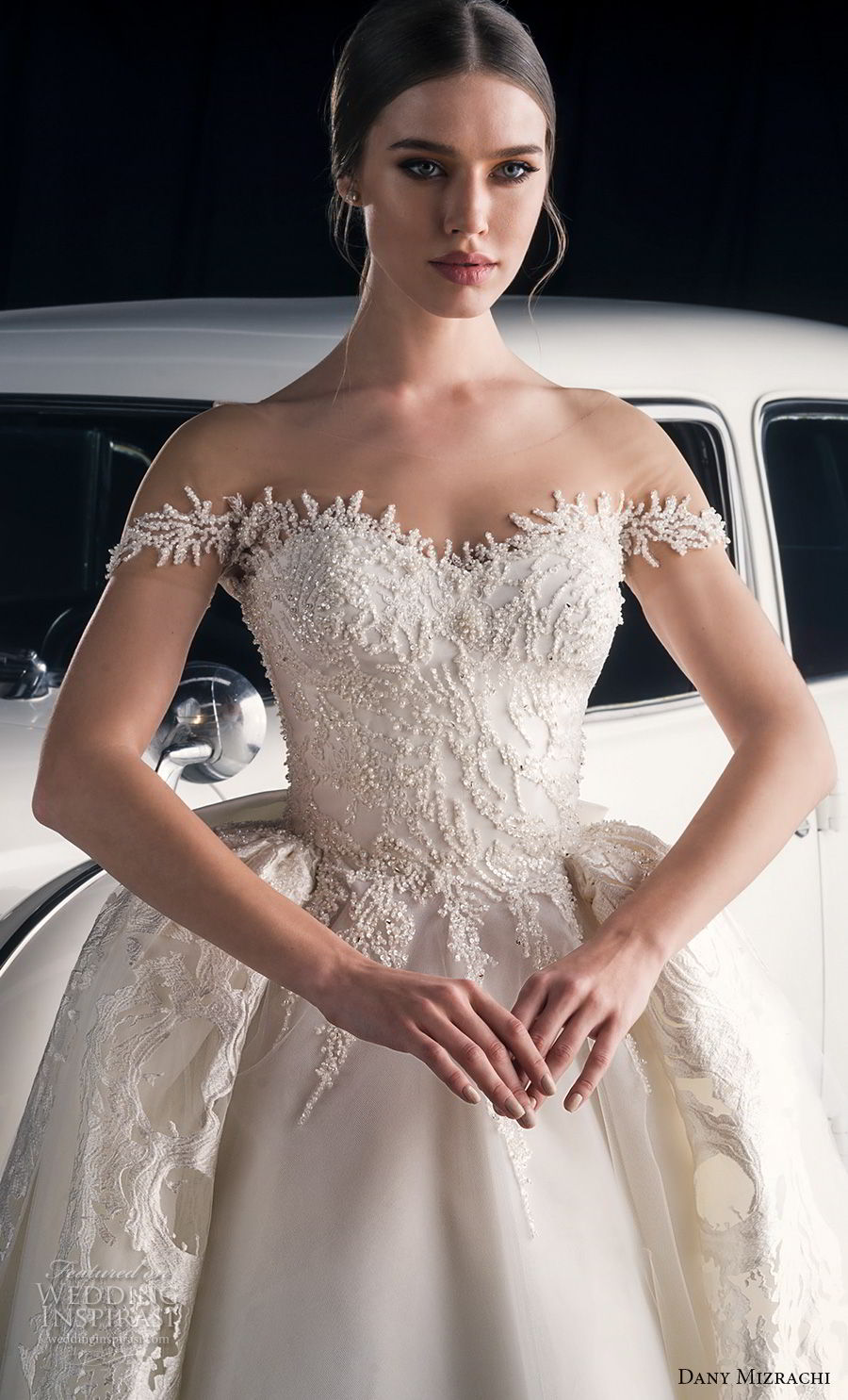 dany mizrachi fall 2018 bridal off the shoulder sweetheart neckline heavily embellished bodice princess glitzy ball gown wedding dress a  line overskirt chapel train (1) zv