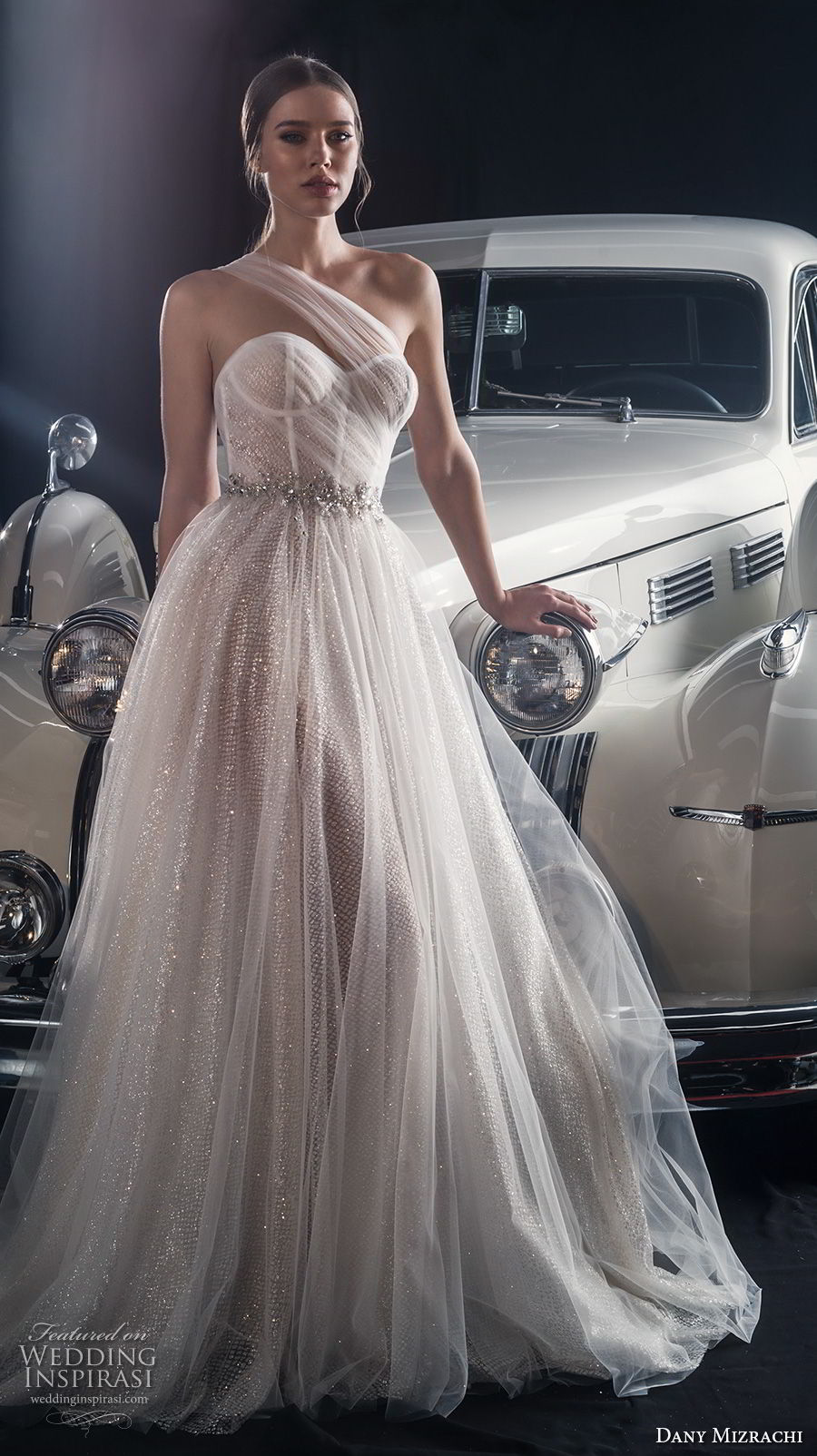 dany mizrachi fall 2018 bridal sheer one shoulder sweetheart neckline bustier full embellishment glitzy romantic a line wedding dress sweep train (3) mv