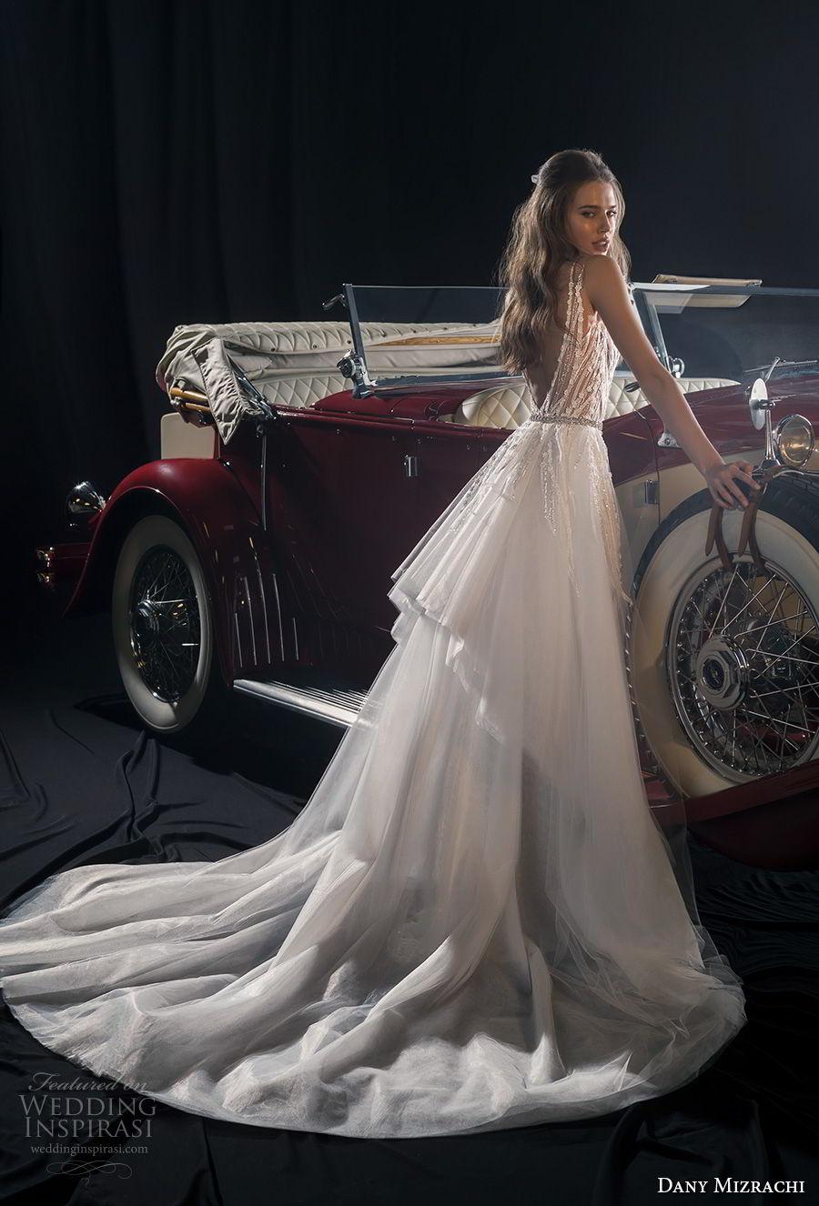 dany mizrachi fall 2018 bridal sleeveless deep sweetheart neckline full embellishment elegant glitzy glamorous fit and flare wedding dress a  line overskirt v back chapel train (16) bv