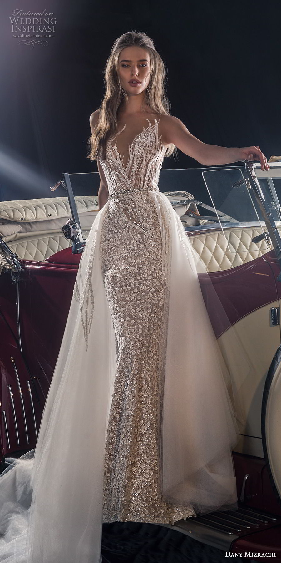 dany mizrachi fall 2018 bridal sleeveless deep sweetheart neckline full embellishment elegant glitzy glamorous fit and flare wedding dress a  line overskirt v back chapel train (16) mv