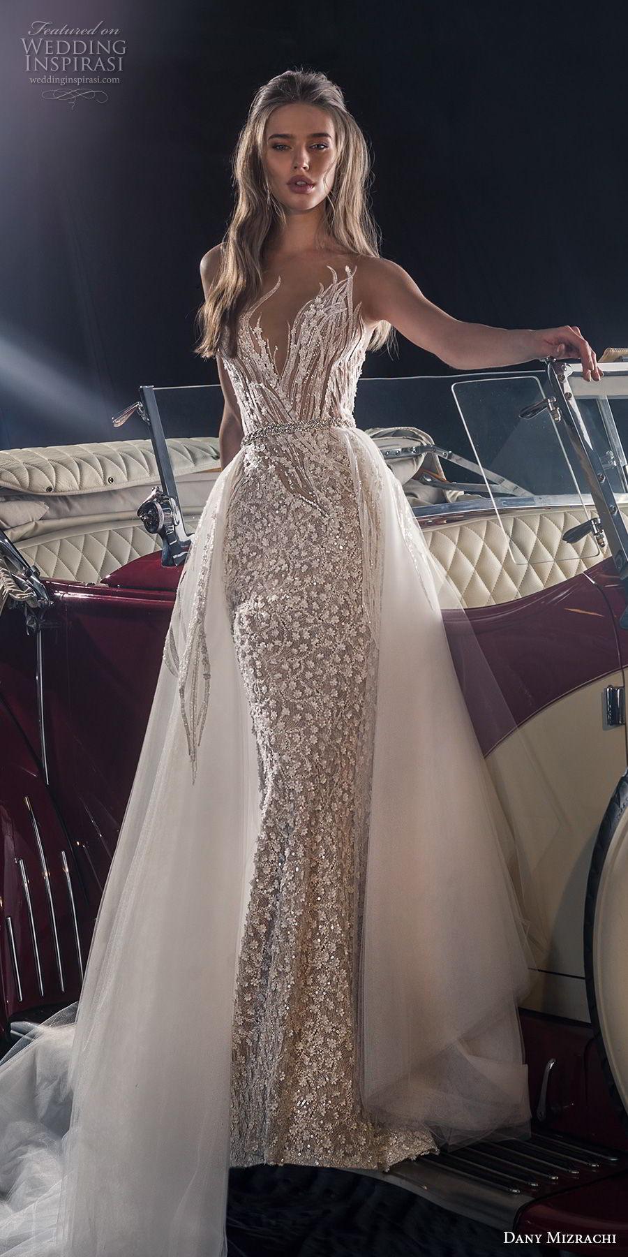 dany mizrachi fall 2018 bridal sleeveless deep sweetheart neckline full embellishment elegant glitzy glamorous fit and flare wedding dress a  line overskirt v back chapel train (16) mv