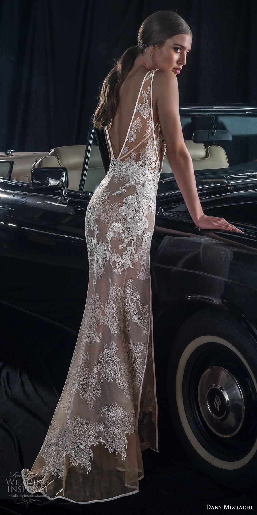 dany mizrachi fall 2018 bridal sleeveless deep v neck full embellishment double slit skirt elegant sexy sheath wedding dress  v back sweep train (7) bv