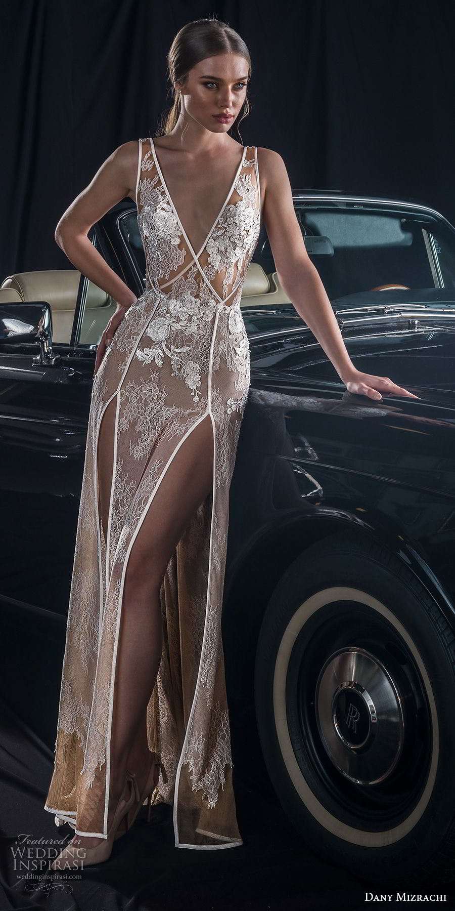 dany mizrachi fall 2018 bridal sleeveless deep v neck full embellishment double slit skirt elegant sexy sheath wedding dress  v back sweep train (7) mv