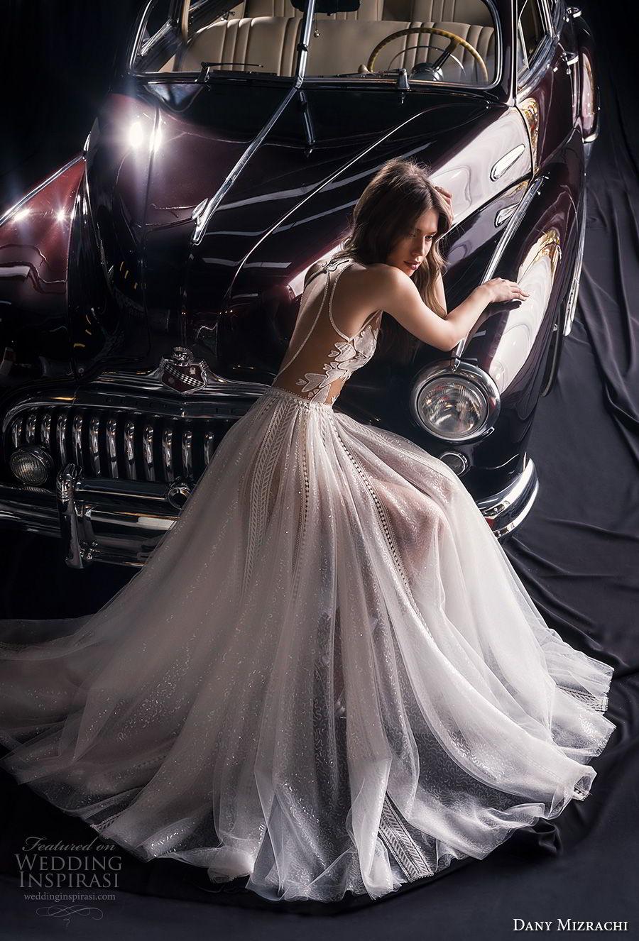 dany mizrachi fall 2018 bridal sleeveless jewel neck heavily embellished bodice tulle skirt romantic a  line wedding dress keyhole back chapel train (14) bv mv
