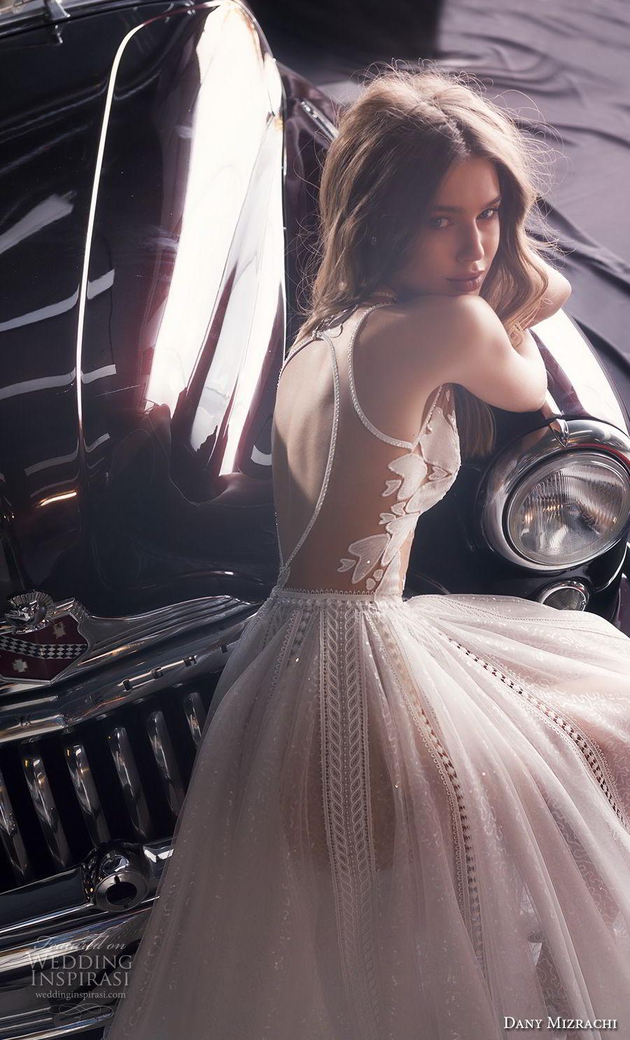 dany mizrachi fall 2018 bridal sleeveless jewel neck heavily embellished bodice tulle skirt romantic a  line wedding dress keyhole back chapel train (14) zbv