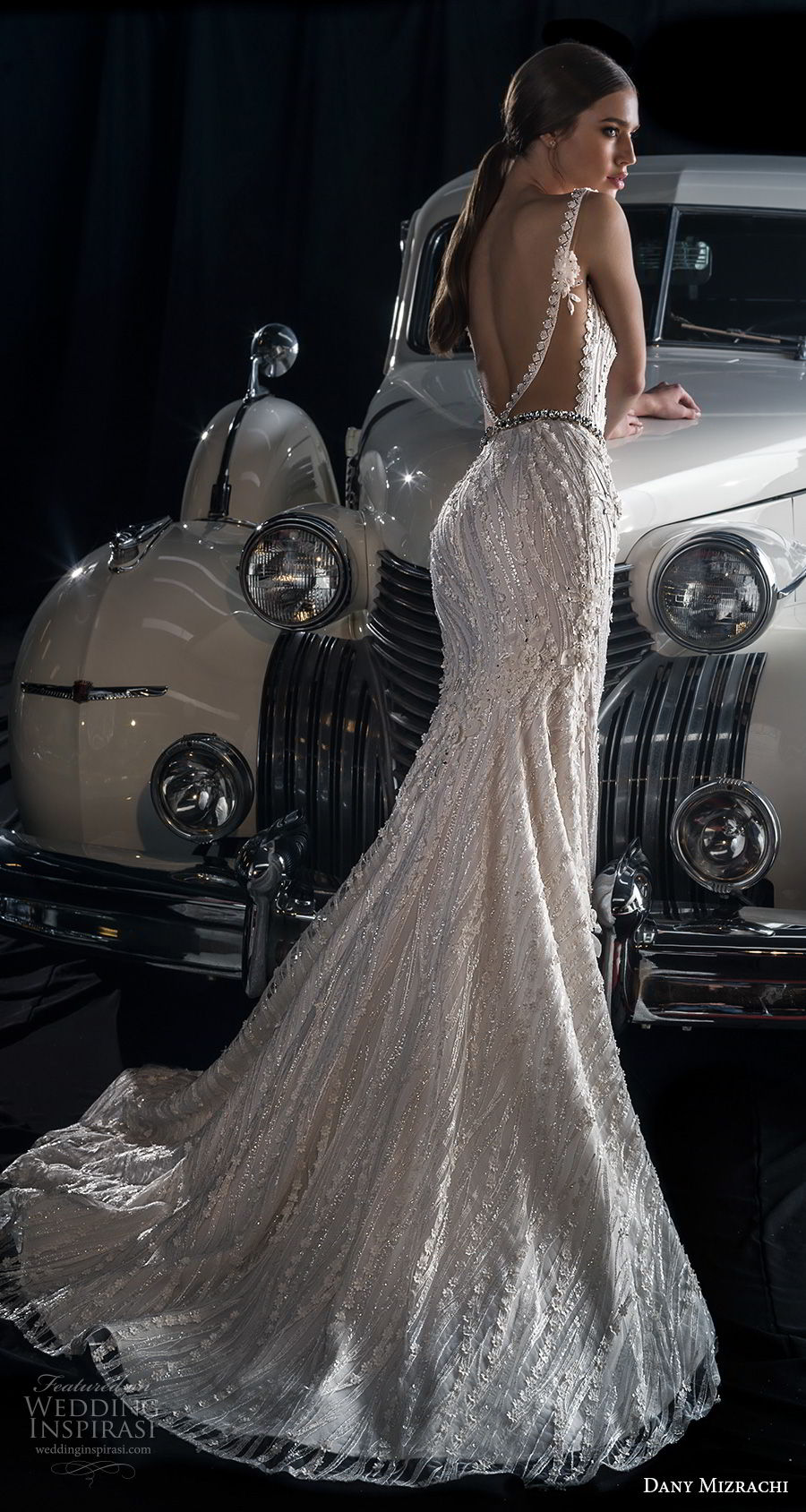 dany mizrachi fall 2018 bridal sleeveless sheer bateau deep plunging sweetheart neckline full embellishment elegant glamorous sheath wedding dress v back sweep train (5) bv