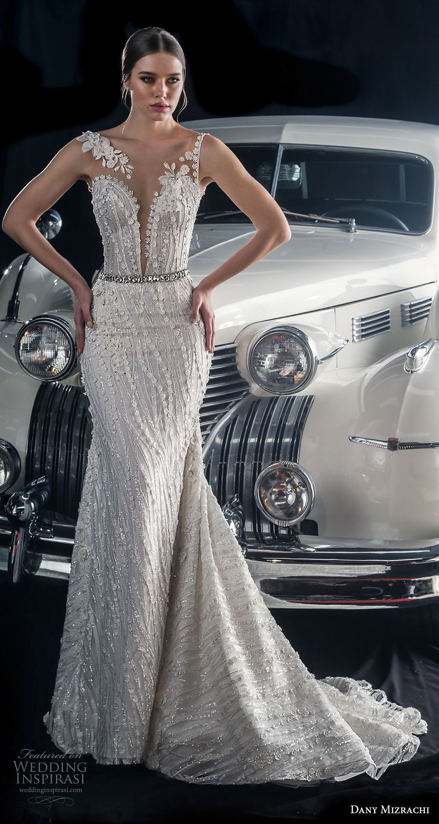 dany mizrachi fall 2018 bridal sleeveless sheer bateau deep plunging sweetheart neckline full embellishment elegant glamorous sheath wedding dress v back sweep train (5) mv