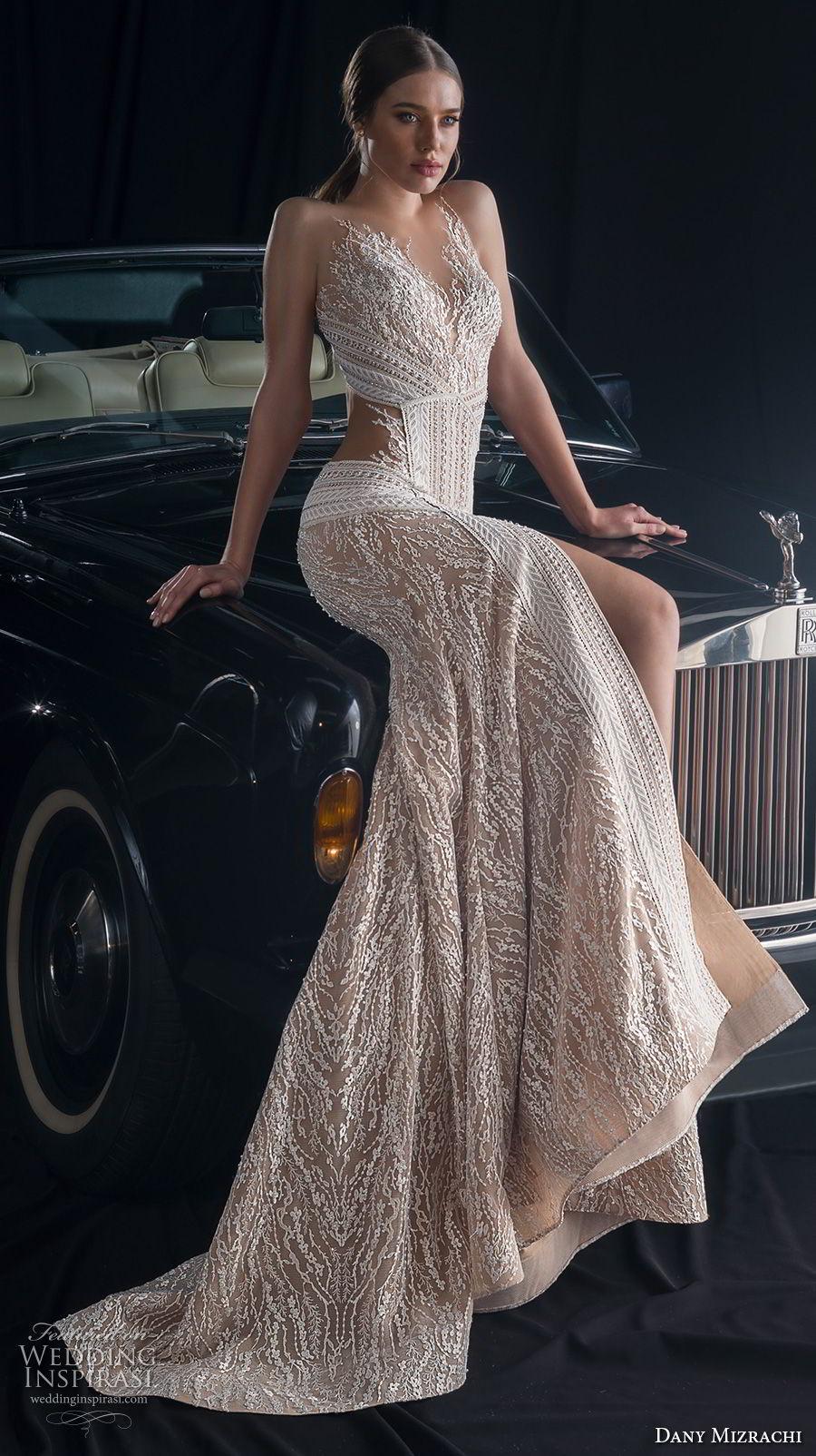dany mizrachi fall 2018 bridal sleeveless sheer jewel sweetheart neckline full embellishment slit skirt glamorous sexy fit and flare wedding dress keyhole back sweep train (8) mv