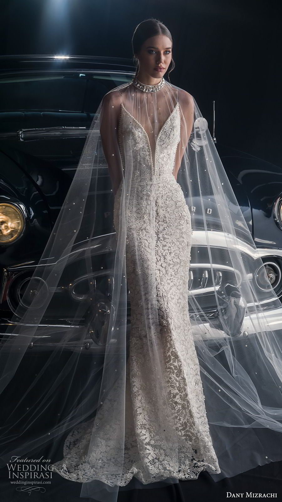 dany mizrachi fall 2018 bridal sleeveless spaghetti strap deep plunging sweetheart neckline full embellishment elegant fit and flare wedding dress v back sweep train (13) mv