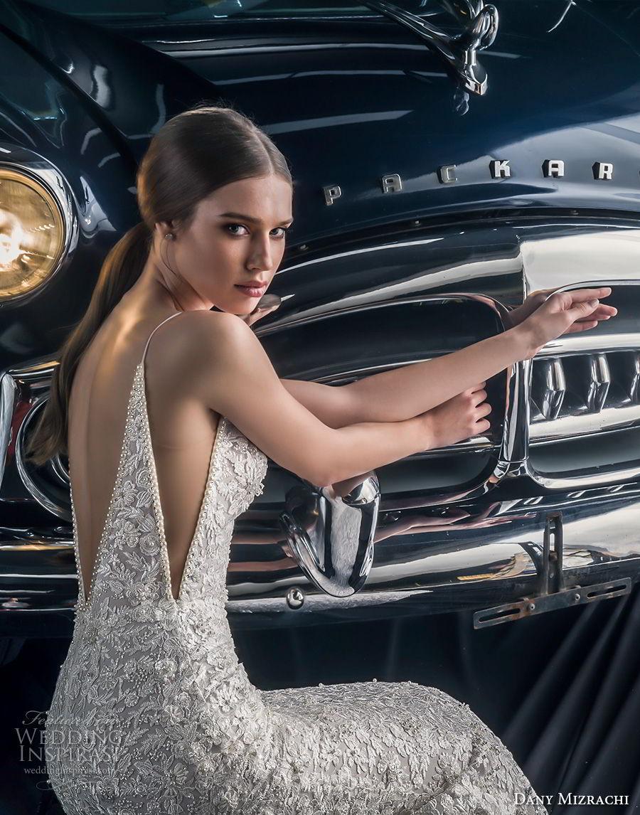 dany mizrachi fall 2018 bridal sleeveless spaghetti strap deep plunging sweetheart neckline full embellishment elegant fit and flare wedding dress v back sweep train (13) zbv
