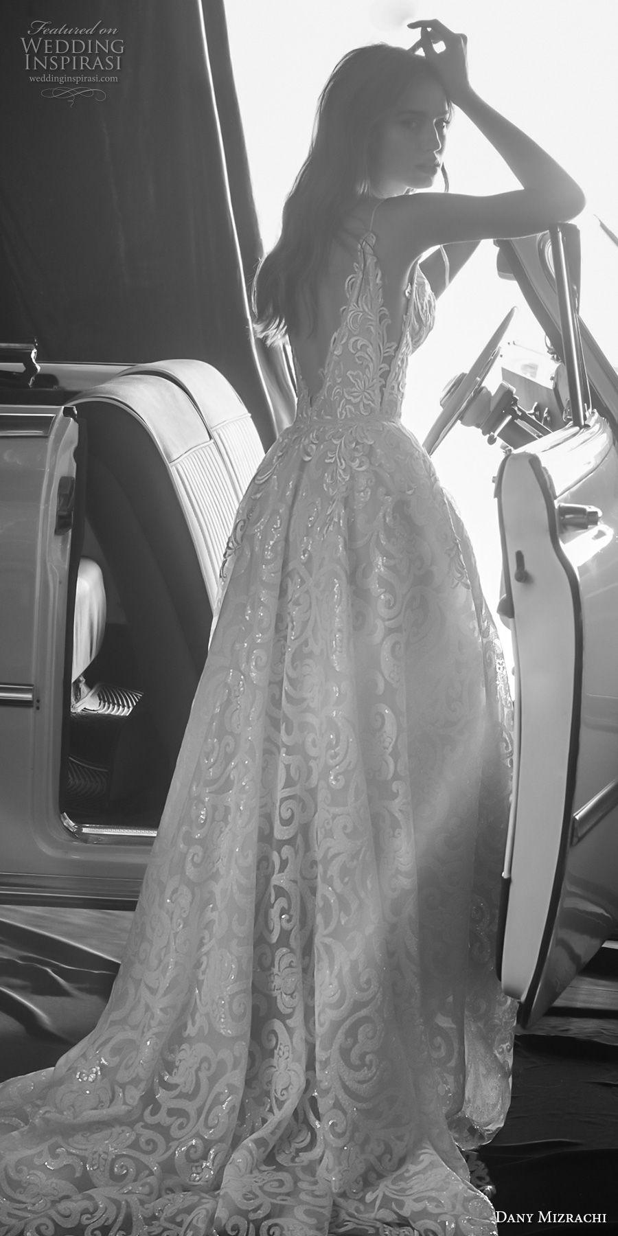 dany mizrachi fall 2018 bridal sleeveless spaghetti strap deep plunigng sweetheart neckline full embellishment romantic a  line wedding dress v back chapel train (15) bv