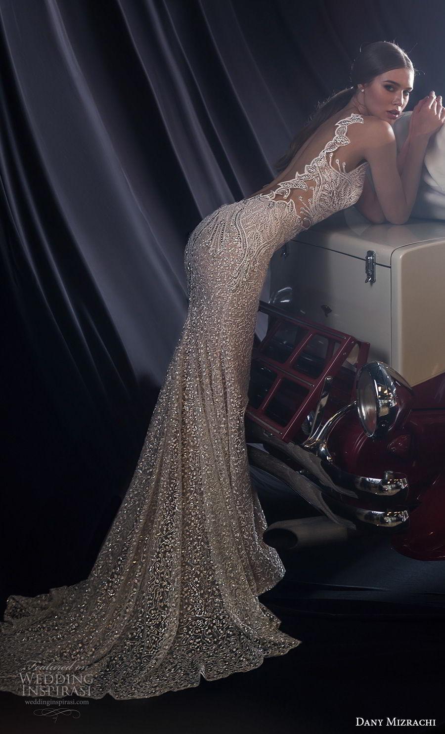 dany mizrachi fall 2018 bridal sleeveless with strap deep plunging v neck full embellishment glitzy elegant sexy sheth wedding dress low open back short train (10) bv