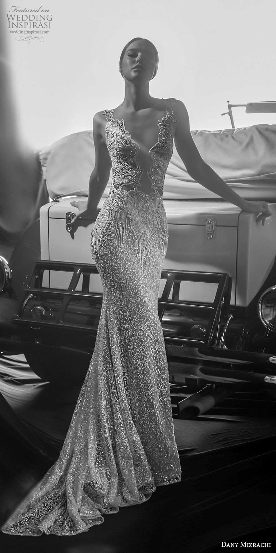 dany mizrachi fall 2018 bridal sleeveless with strap deep plunging v neck full embellishment glitzy elegant sexy sheth wedding dress low open back short train (10) mv