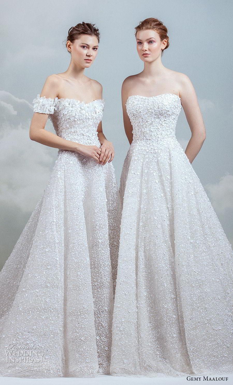 3cc7da8154 gemy maalouf 2019 bridal strapless semi sweetheart neckline full  embellishment romantic pretty a line wedding dress