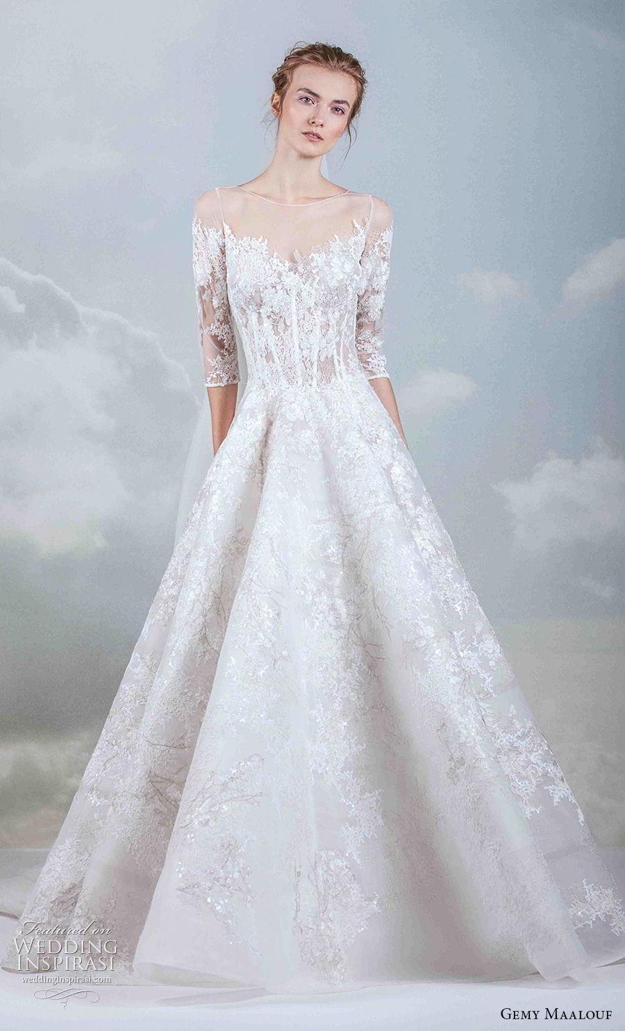 Gemy maalouf 2019 wedding dresses the royal bride A line wedding dress 2019