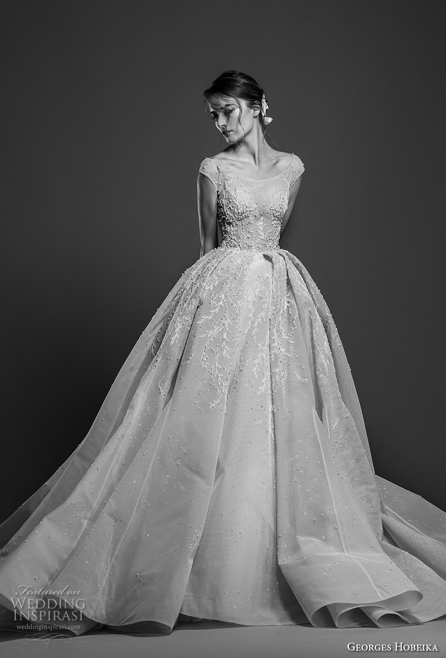 georges hobeika spring 2019 bridal cap sleeves bateau neck heavily embellished bodice romantic princess ball gown a line wedding dress royal train (11) mv