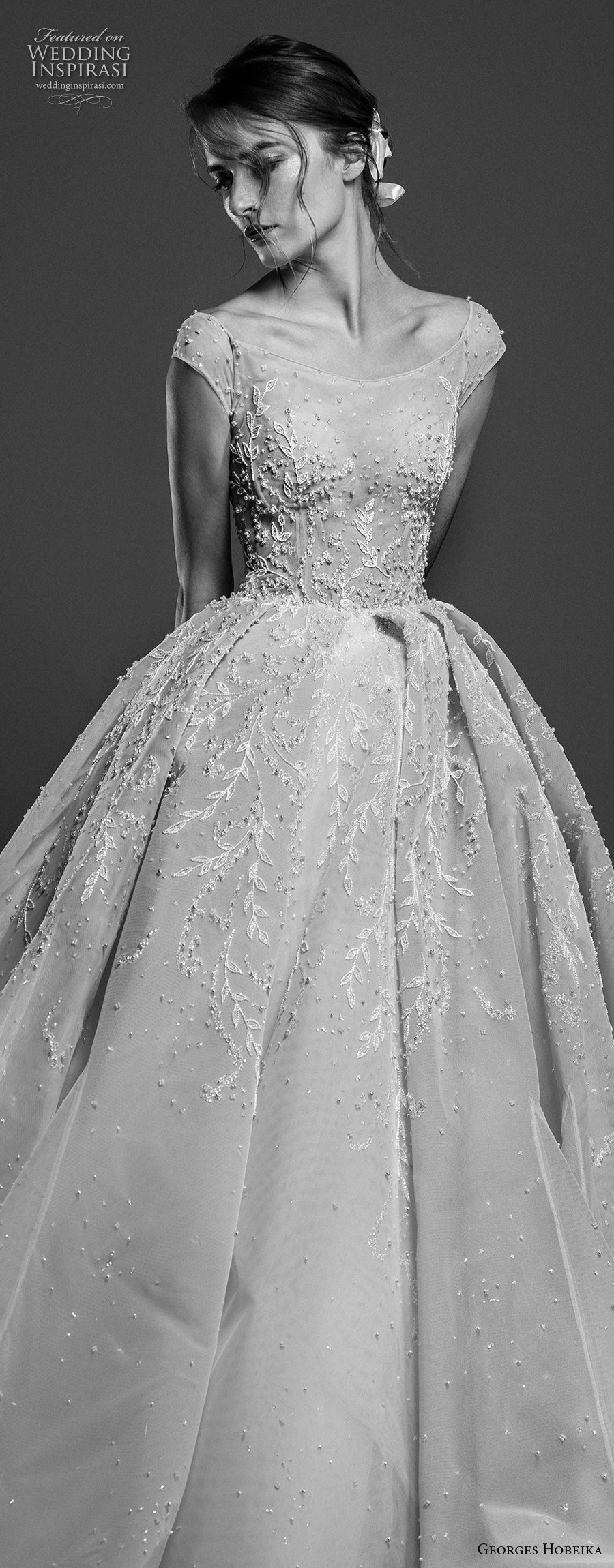 georges hobeika spring 2019 bridal cap sleeves bateau neck heavily embellished bodice romantic princess ball gown a line wedding dress royal train (11) zv