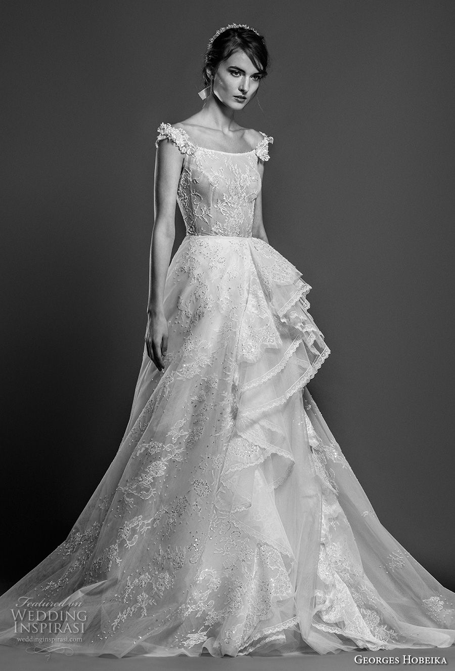 georges hobeika spring 2019 bridal cap sleeves scoop neckline full embellishment layered skirt romantic a line wedding dress chapel train (20) mv