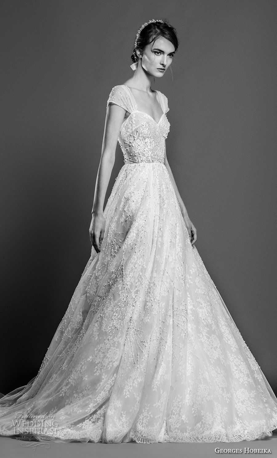 georges hobeika spring 2019 bridal cap sleeves sweetheart neckline full embellishment romantic a line wedding dress chapel train (14) mv