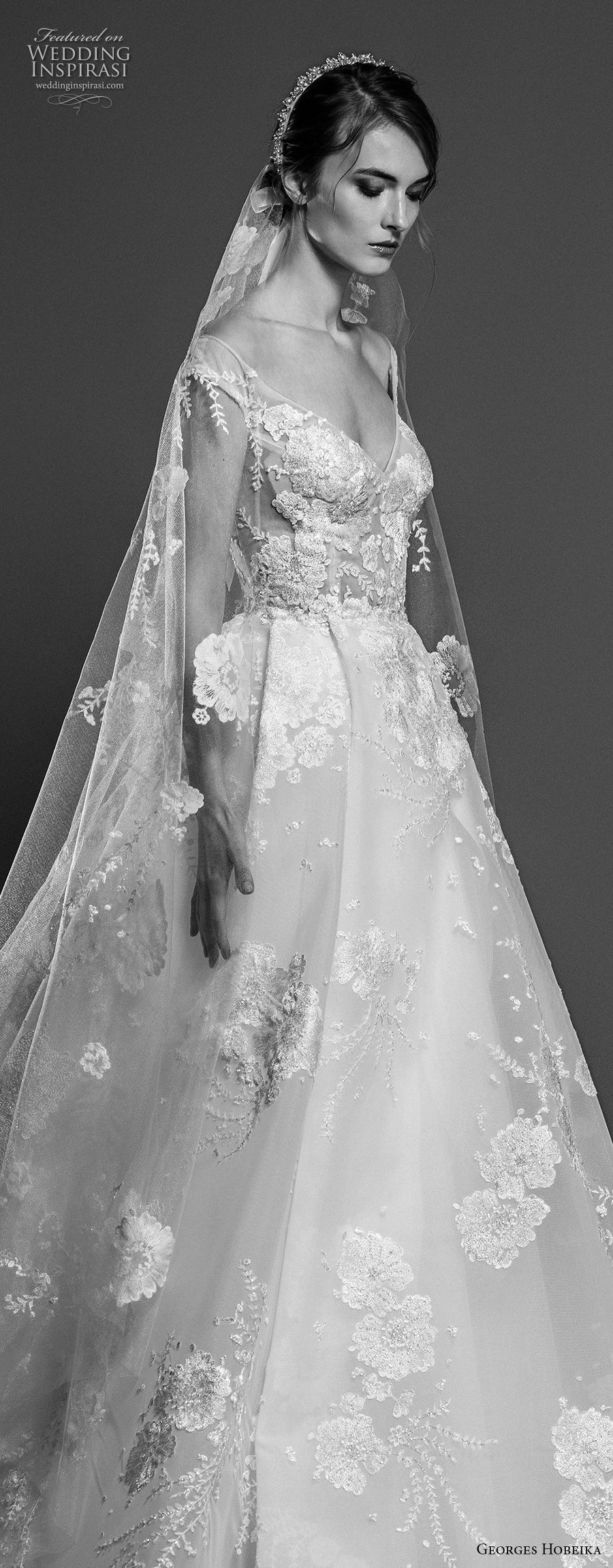 georges hobeika spring 2019 bridal cap sleeves v neck full embellishment princess elegant a line wedding dress chapel train (3) zv