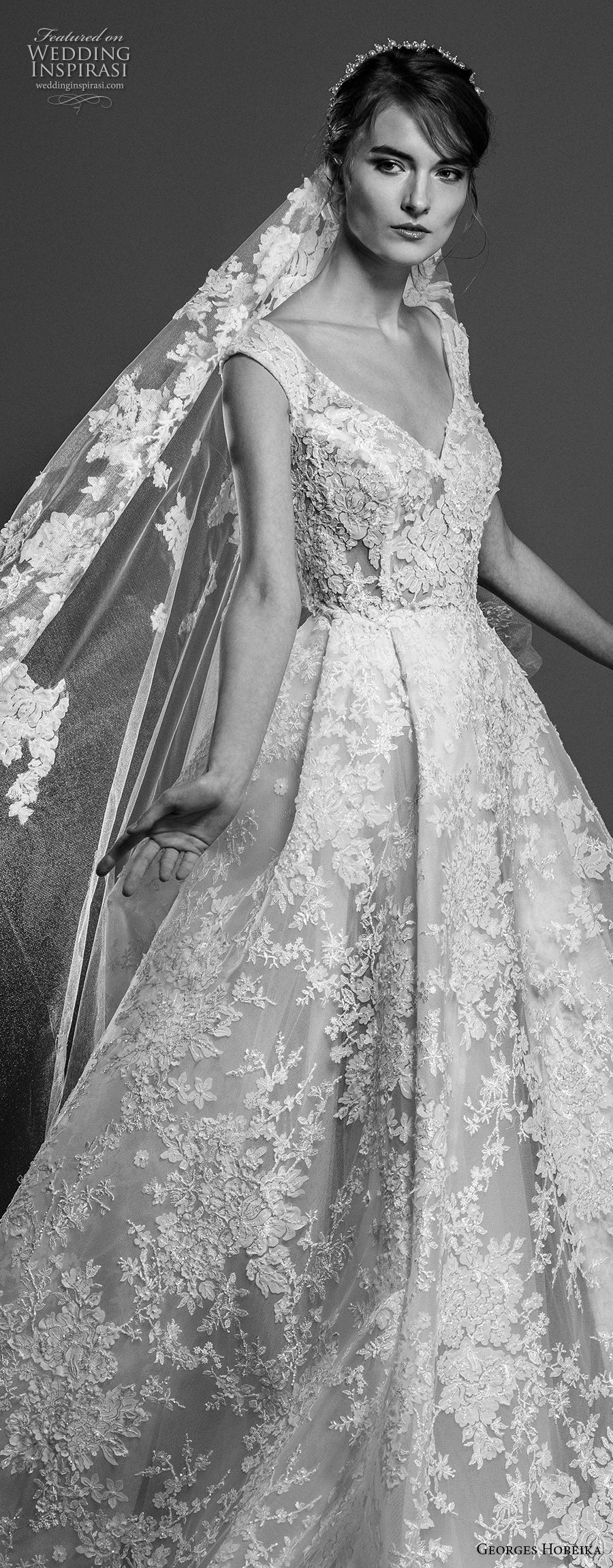 georges hobeika spring 2019 bridal cap sleeves v neck full embellishment princess romantic elegant a line wedding dress chapel train (4) zv