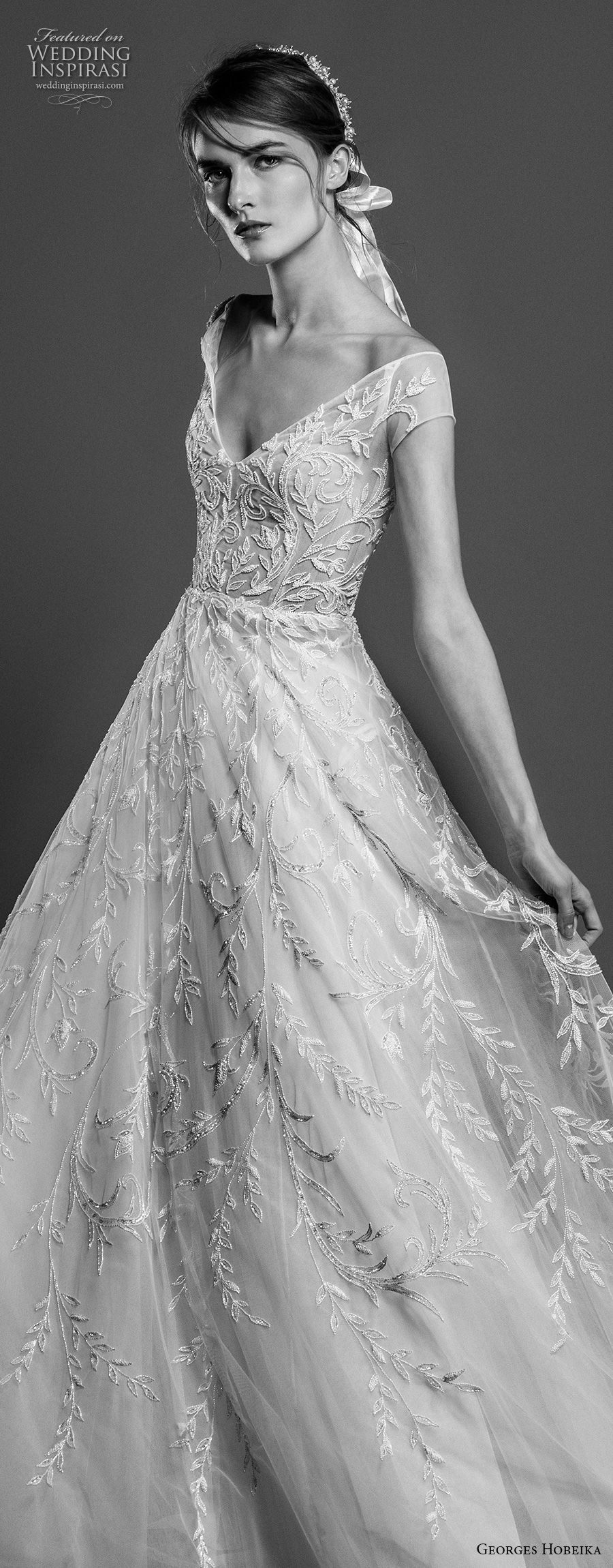 georges hobeika spring 2019 bridal cap sleeves v neck full embellishment romantic elegant a line wedding dress chapel train (1) zv
