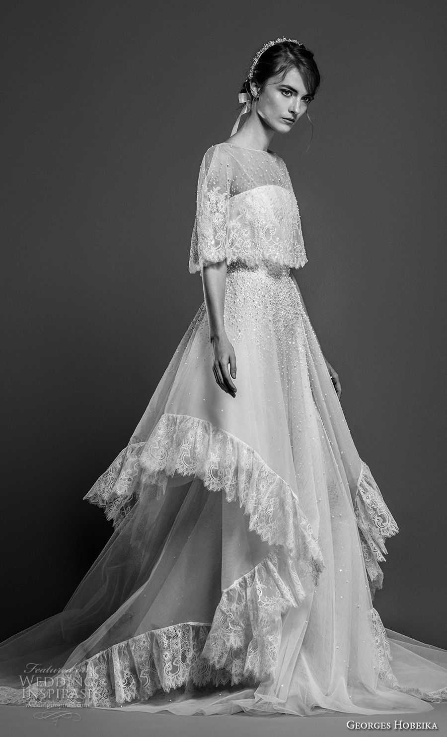 georges hobeika spring 2019 bridal half cornet sleeves sheer bateau straight across neckline capelet layered skirt a line wedding dress chapel train (12) mv
