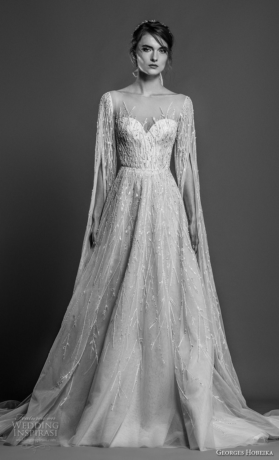 georges hobeika spring 2019 bridal hanging sleeves illusion bateau sweetheart neckline full embellishment glitzy glamorous elegant a line wedding dress royal train (17) mv