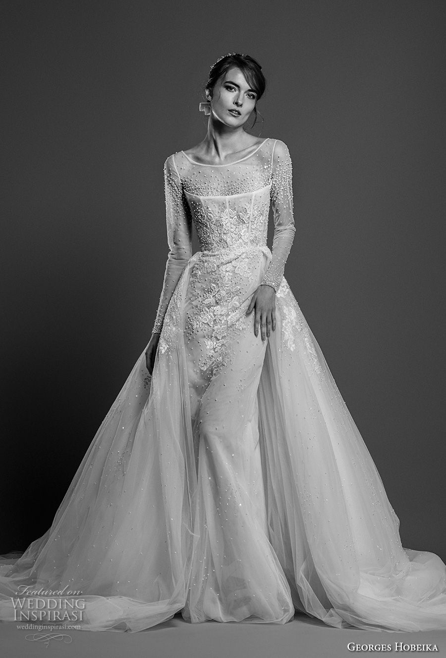 georges hobeika spring 2019 bridal long sleeves illusion bateau neck heavily embellished bodice elegant sheath wedding dress a line overskirt chapel train (25) mv