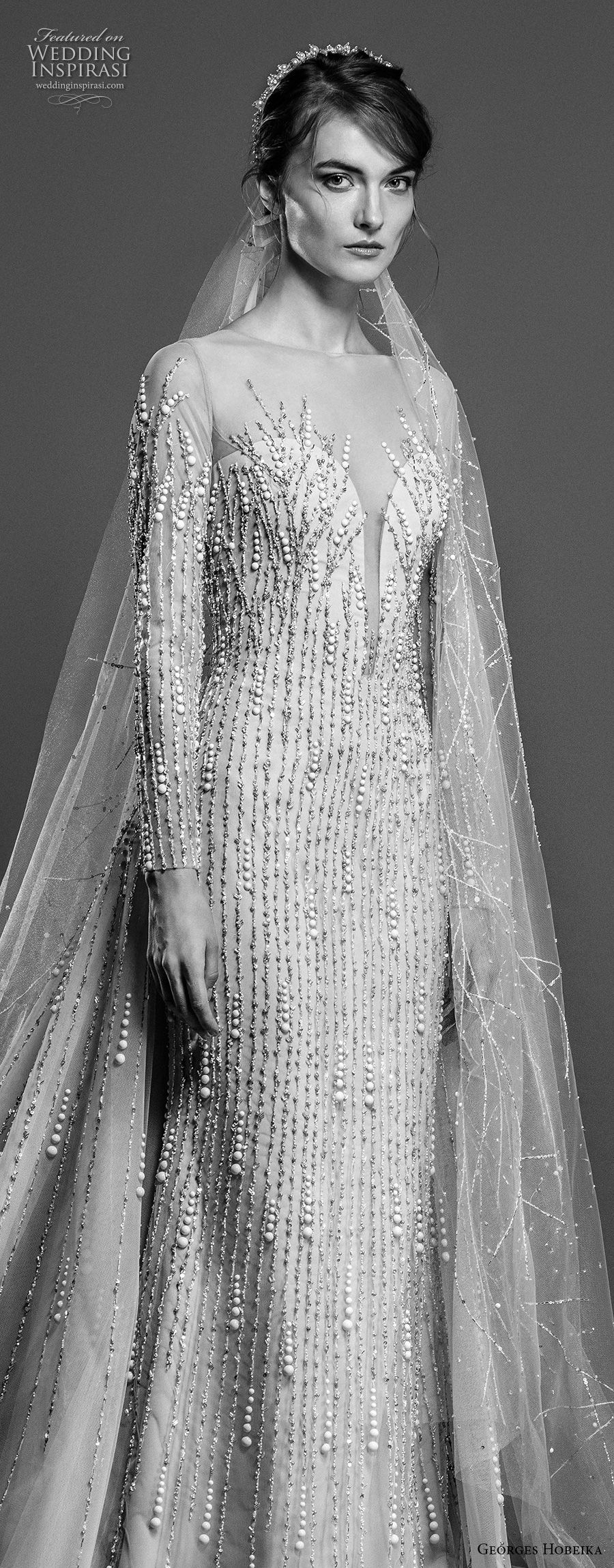 georges hobeika spring 2019 bridal long sleeves illusion jewel deep plunging sweetheart neckline glitzy elegant sheath wedding dress chapel train (6) zv