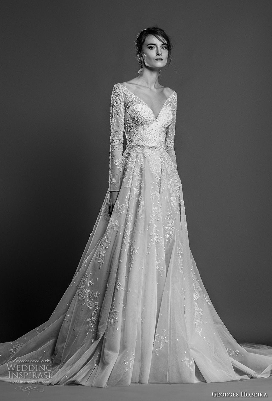 georges hobeika spring 2019 bridal long sleeves illusion v sweetheart neckline full embellishment romantic a line wedding dress chapel train (19) mv