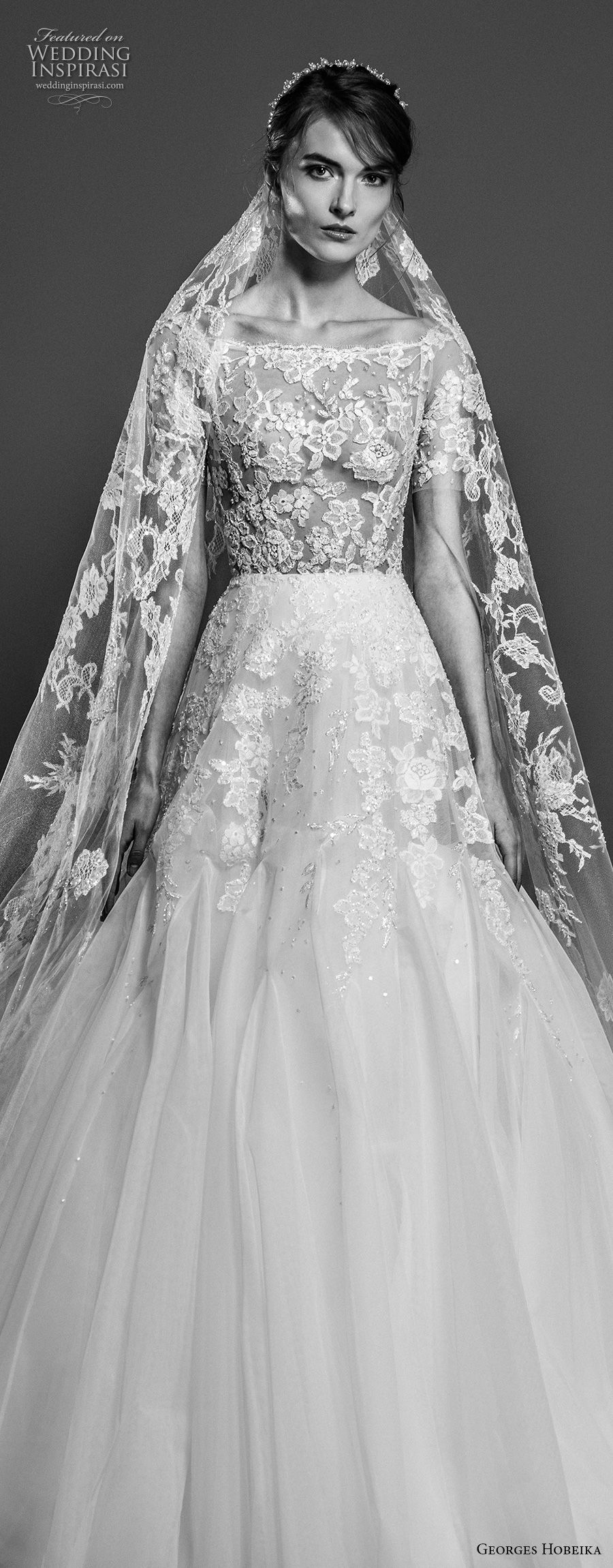 georges hobeika spring 2019 bridal short sleeves bateau neck heavily embellished bodice princess elegant a line wedding dress chapel train (7) zv
