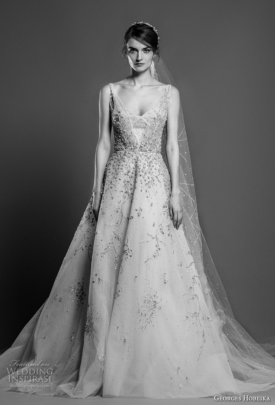 georges hobeika spring 2019 bridal sleeveless scoop neck heavily embellished bodice romantic a line wedding dress chapel train (21) mv