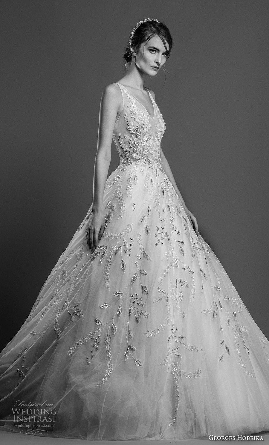 georges hobeika spring 2019 bridal sleeveless v neck full embellishment romantic a line wedding dress chapel train (13) mv