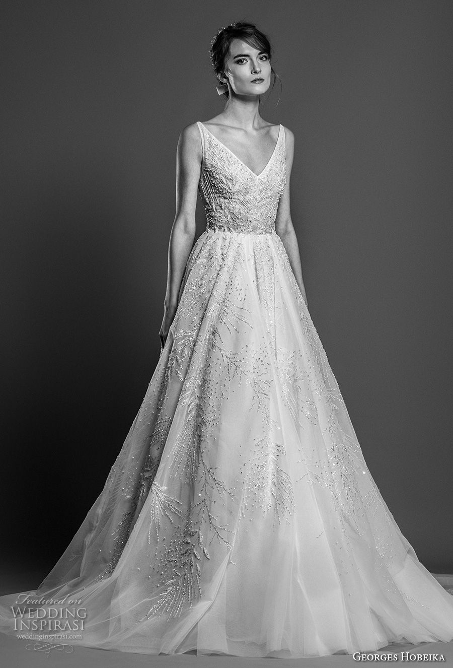 georges hobeika spring 2019 bridal sleeveless v neck full embellishment romantic glitzy a line wedding dress chapel train (24) mv