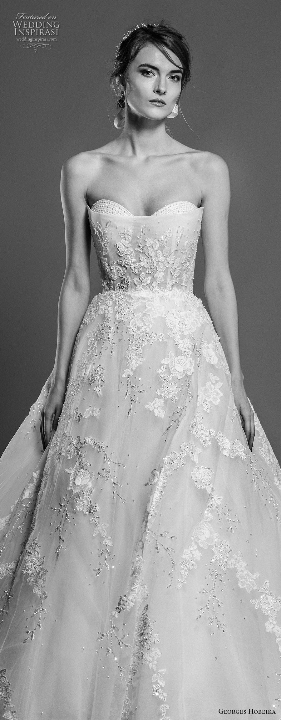 georges hobeika spring 2019 bridal strapless sweetheart neckline full embellishment romantic a line wedding dress chapel train (8) zv