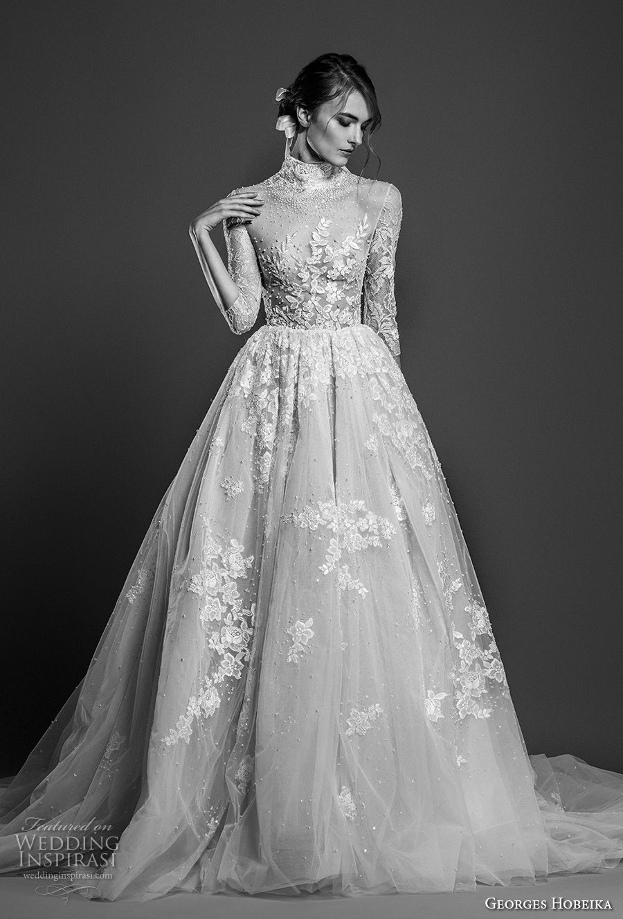 georges hobeika spring 2019 bridal three quarter sleeves high neck heavily embellished romantic a line wedding dress chapel train (5) mv