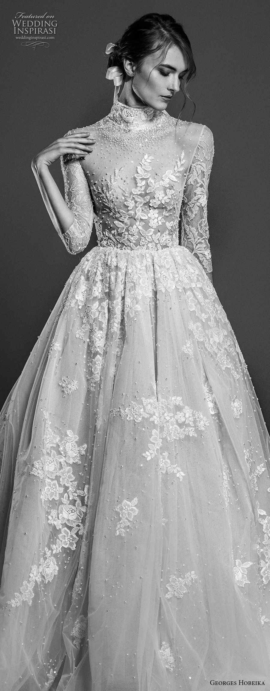 georges hobeika spring 2019 bridal three quarter sleeves high neck heavily embellished romantic a line wedding dress chapel train (5) zv