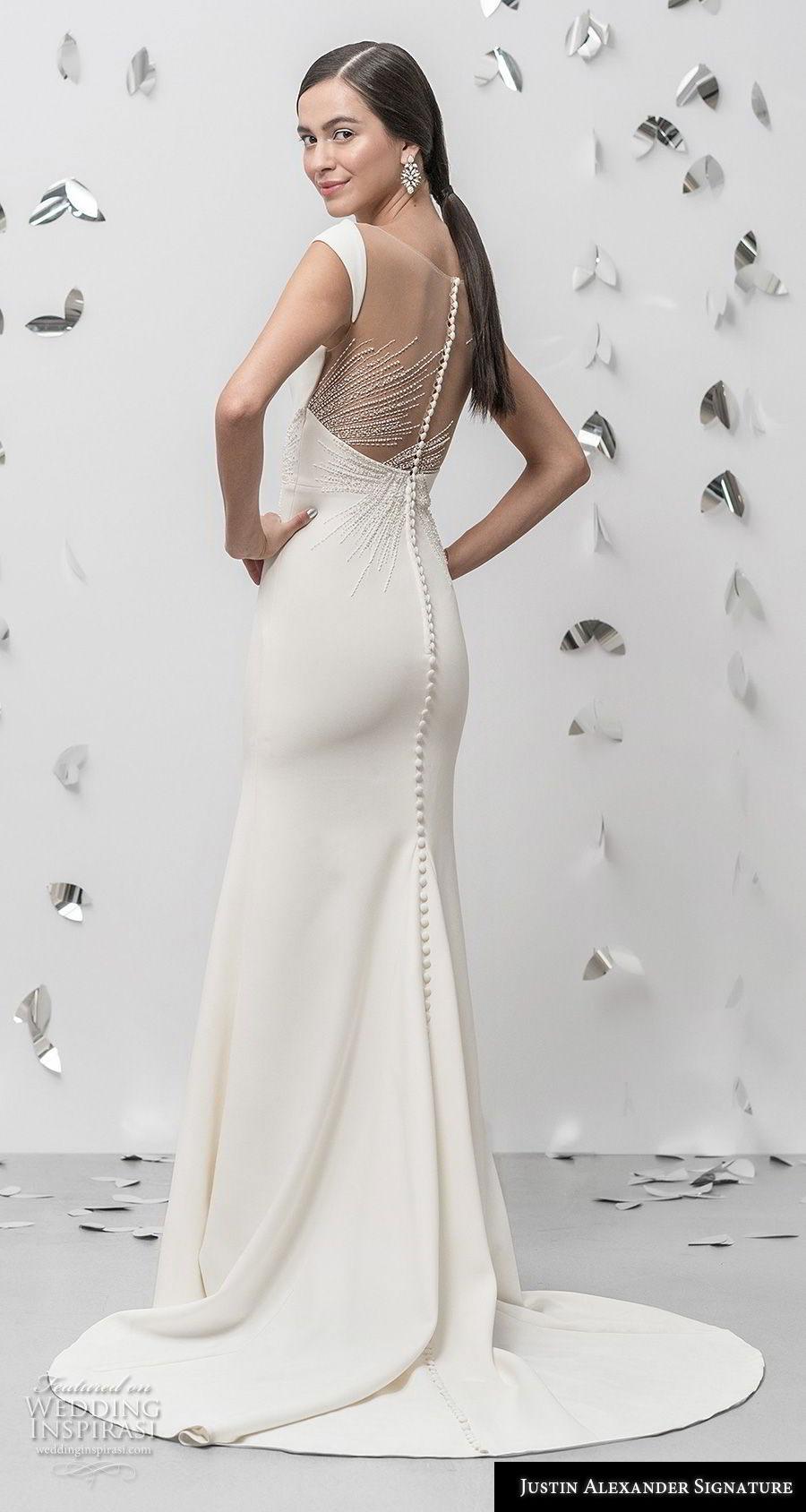 justin alexander fall 2018 signature cap sleeves bateau neck simple minimalist elegant sheath wedding dress sheer button back short train (20) bv