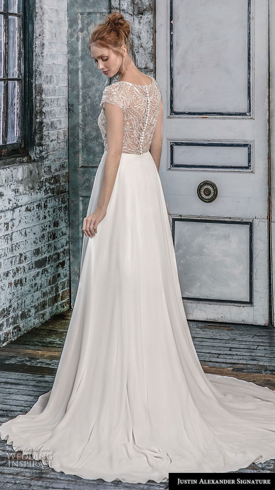 justin alexander fall 2018 signature cap sleeves illusion jewel sweetheart neckline heavily embellished bodice glizty romantic soft a  line wedding dress lace button back short train (14) bv