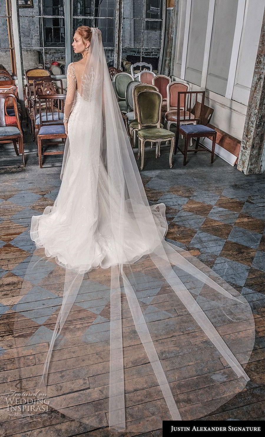 justin alexander fall 2018 signature long sleeves illusion bateau sweetheart neckline full embellishment glitzy elegant fit and flare wedding dress sheer lace back sweep train (7) bv