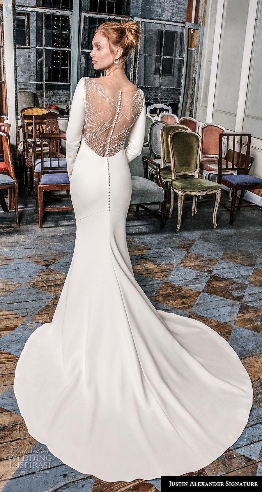 justin alexander fall 2018 signature long sleeves v neck simple minimalist elegant sheath fit and flare wedding dress sheer button back chapel train (12) bv