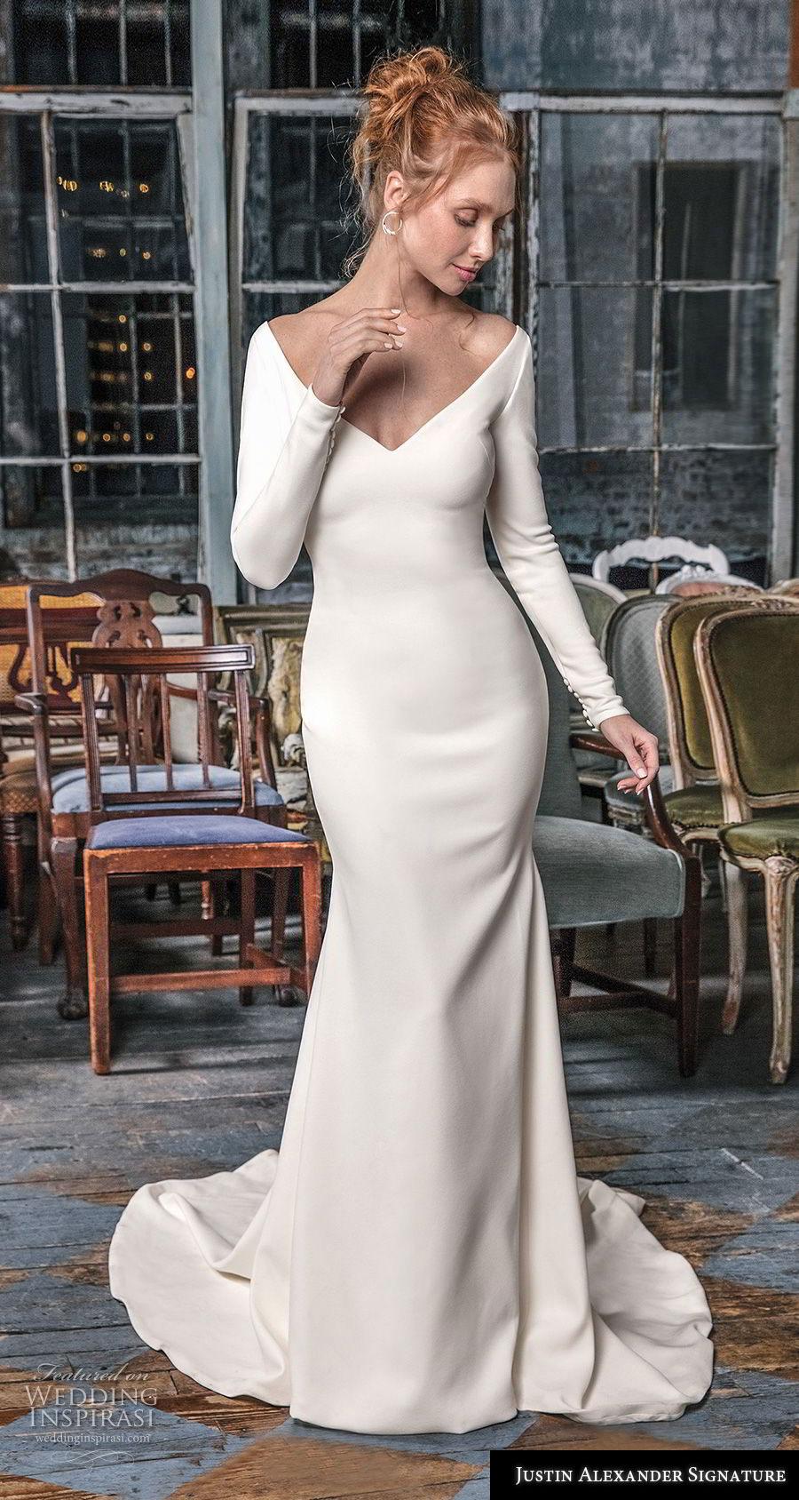 justin alexander fall 2018 signature long sleeves v neck simple minimalist elegant sheath fit and flare wedding dress sheer button back chapel train (12) mv