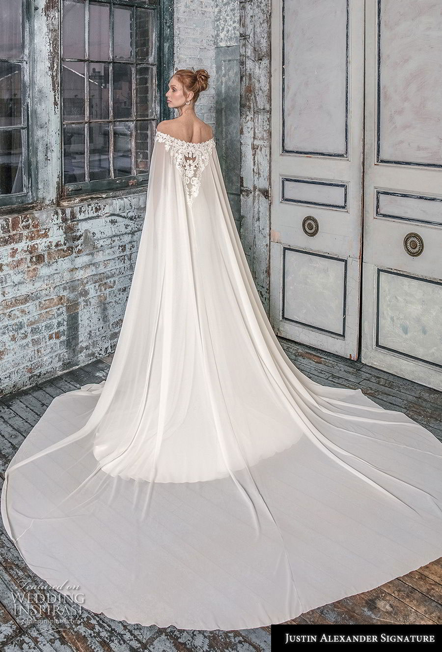 justin alexander fall 2018 signature off the shoulder cape strapless sweetheart neckline heavily embellished bodice elegant fit and flare wedding dress sweep train (9) bv