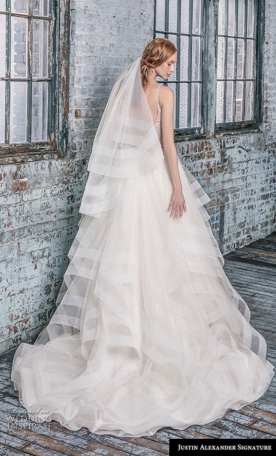 justin alexander fall 2018 signature sleeveless thin strap v neck heavily embellished bodice tiered skirt romantic ball gown a  line wedding dress open back chapel train (11) bv