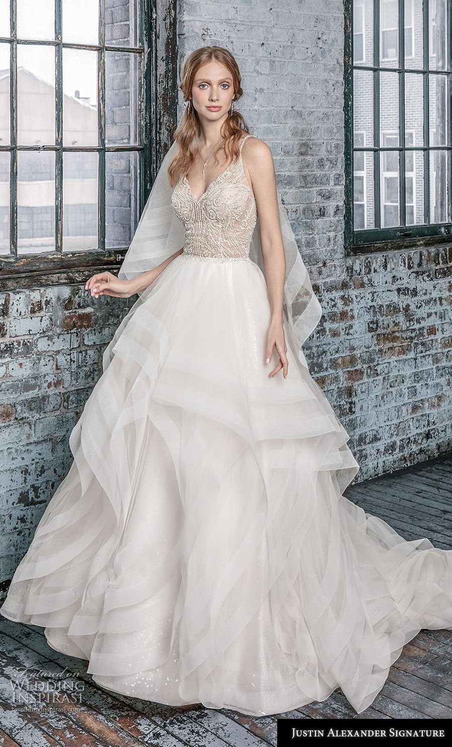 justin alexander fall 2018 signature sleeveless thin strap v neck heavily embellished bodice tiered skirt romantic ball gown a  line wedding dress open back chapel train (11) mv