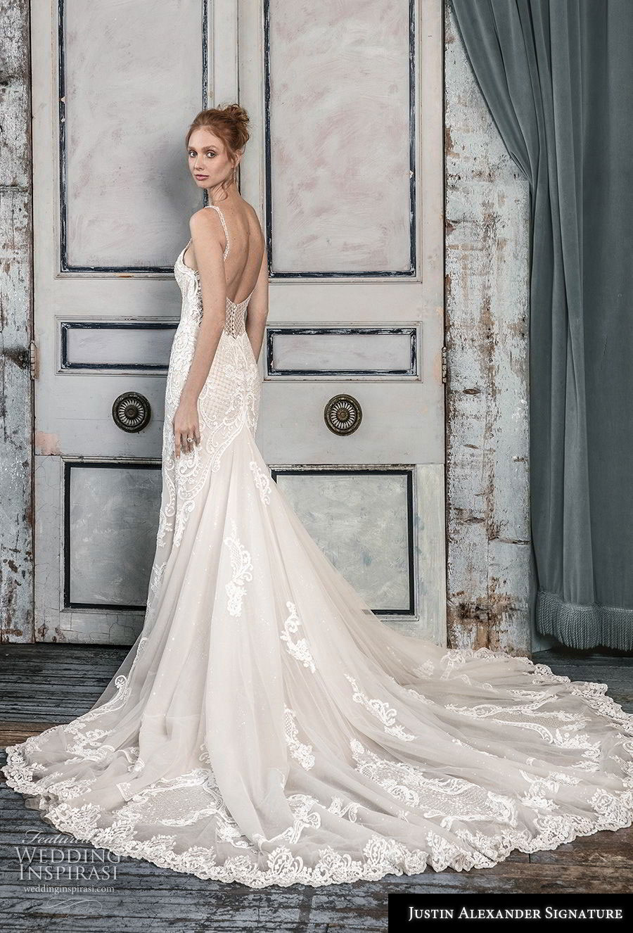 justin alexander fall 2018 signature sleeveless with strap illusion scoop deep plunging sweetheart neckline full embellishment elegant fit and flare wedding dress open back chapel train (5) bv